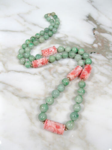 CHINESE GREEN JADEITE JADE CARVED PINK ANGEL SKIN CORAL SHOU BEAD NECKLACE GOLD