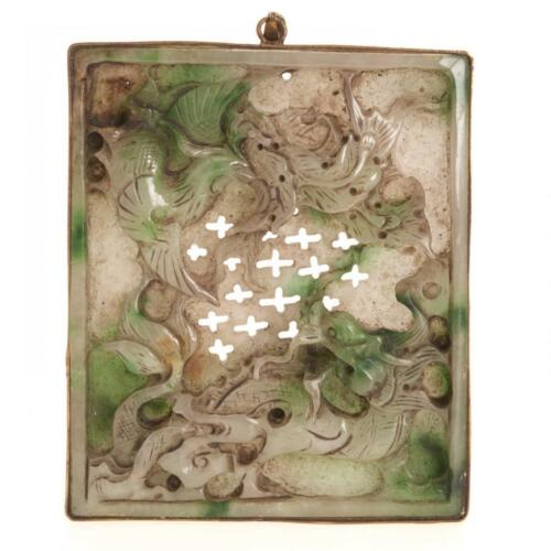 19TH/20TH C. CHINESE CARVED GREEN & WHITE JADE PLAQUE W/ DRAGON, PHOENIX