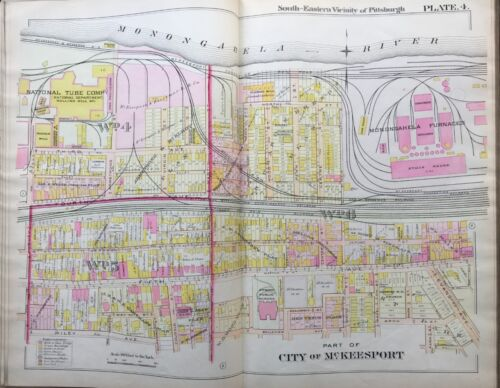 1900 McKEESPORT PITTSBURGH PA 6th WARD PUBLIC SCHOOL HUEY ST-OAK ALLEY ATLAS MAP