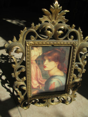 Antique Gilt Bronze/Brass w easel  table  picture frame