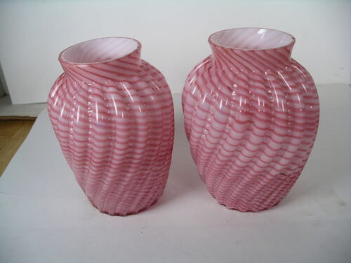 Pair Pink Victorian Ribbed Cased Reverse Swirl Vases