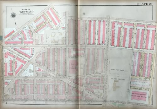 1923 G.W. BROMLEY, WEST OAK LANE PHILADELPHIA PA, JOHN KINSEY SCHOOL, ATLAS MAP