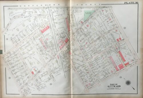 1923 GW BROMLEY, EAST OAK LANE PHILADELPHIA PA, ST. MARTIN'S CHURCH, ATLAS MAP