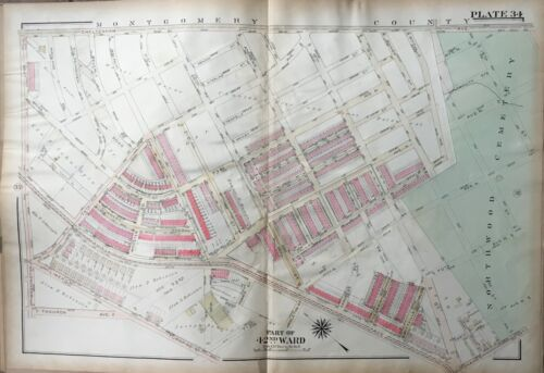 1923 GW BROMLEY WEST OAK LANE PHILADELPHIA PA NORTHWOOD CEMETERY ATLAS PLAT MAP