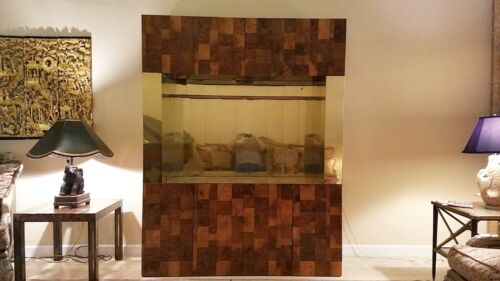 MAGNIFICENT 70'S DIRECTIONAL PAUL EVANS PATCHWORK BURL & BRASS BREAKFRONT- BAR P