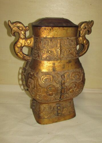 Antique Bronze Chinese Archaic Style Vase Large Gilded Marked Japan 20th Century