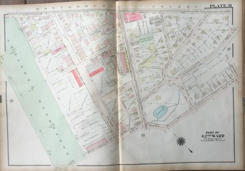1923 PHILADELPHIA PA OAK LANE NORTHWOOD CEMETERY METHODIST CHURCH ATLAS MAP