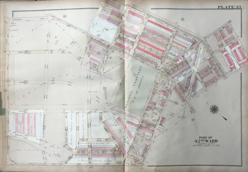 1923 GW BROMLEY WEST OAK LANE PHILADELPHIA PA NATIONAL CEMETERY COPY ATLAS  MAP