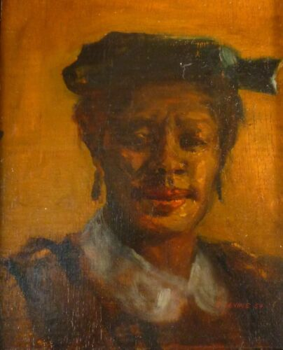 WONDERFUL EARLY DAVID LEVINE PAINTING OF AN AFRICAN AMERICAN WOMAN DATED 1957