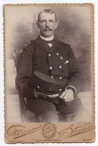 1890s Cabinet Photo of Denver Colorado Railway Driver in Uniform