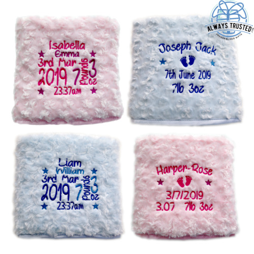 PERSONALISED BABY BLANKET EMBROIDERED SOFT FLUFFY GIFT <br/> ⋆ QUALITY GIFT ⋆ SUPER SOFT ⋆ OVER 11,000 SOLD !!!