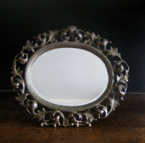 Circa. 1910  Large Bronze 5-Pound  Bauhaus  Vanity Mirror From the United States