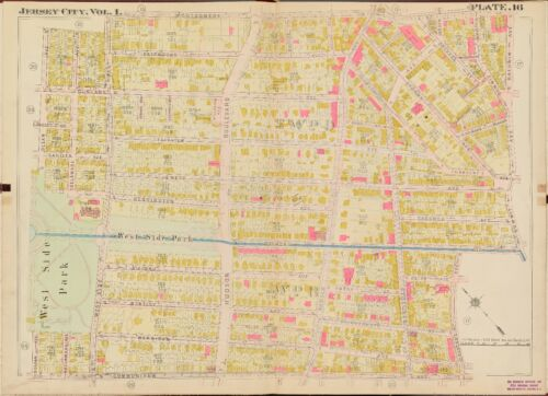 1908 JERSEY CITY HUDSON COUNTY NEW JERSEY WEST SIDE PARK PS12,16,17,18 ATLAS MAP