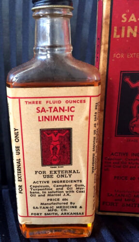 Very Rare SA-TAN-IC Satanic Liniment Quack Medicine Devil Litho W/ Original Box