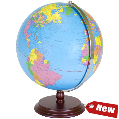 World Globe | 12 Inch Desktop Atlas W Antique Stand | Earth With Political map