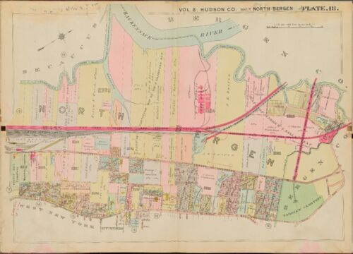 1909 NORTH BERGEN, HUDSON COUNTY, NEW JERSEY, FAIRVIEW CEMETERY, COPY ATLAS MAP