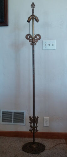 Antique Vtg Gold Cast Iron 2 Socket Floor Lamp w/ Dragons & Faces on the Base