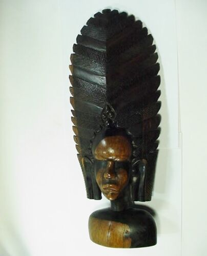 """West Africa Mende Hand Carved Wood Helmet Statue / Mask - 16"""" Tall"""