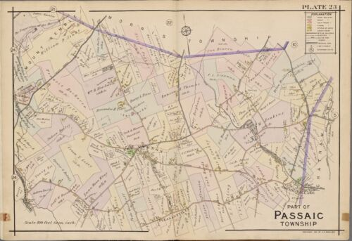 1910 PASSAIC & MORRIS COUNTY TOWNSHIP NEW JERSEY, MOUNT KEMBLE ATLAS MAP