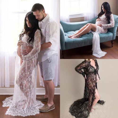 Maternity Lace Maxi Dress Pregnant Photography Photo Props Fancy Women Clothes