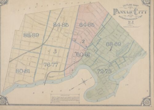 1877 PASSAIC CITY SOUTH ST TO 9TH ST ACQUACKANONCK TOWNSHIP NEW JERSEY ATLAS MAP