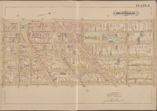 1891 BUFFALO NEW YORK, CANISIUS R.C. COLLEGE, ST. MICHAEL'S SCHOOL ATLAS MAP