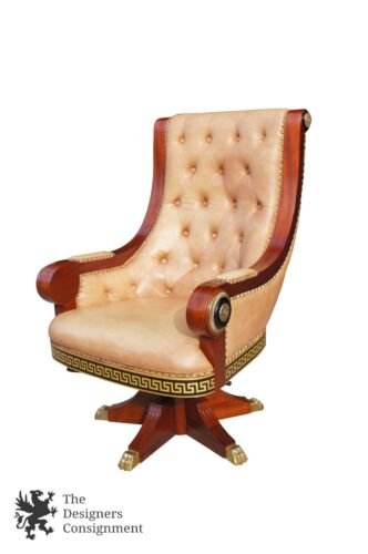 Empire Style Mahogany Gentlemans Office Chair Leather Tufted Greek Key Inlay
