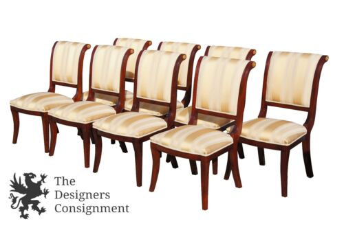 8 Empire Style Mahogany Dining Chairs Greek Key Striped Upholstery Brass Accent