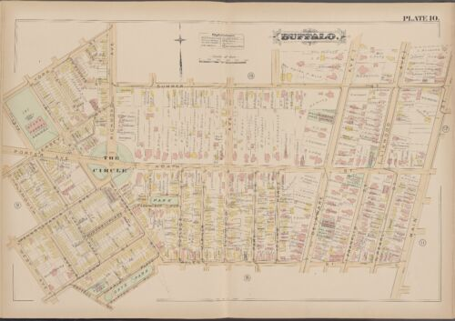 1891 BUFFALO NEW YORK DAY'S PARK & THE CIRCLE WEST AVE -  MAIN STREET ATLAS MAP