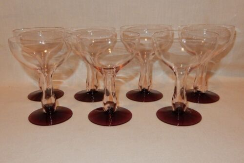 Set of 7 Pink Plum Purple Foot Hollow Stem Crystal Coupe Champagne Wine Goblets