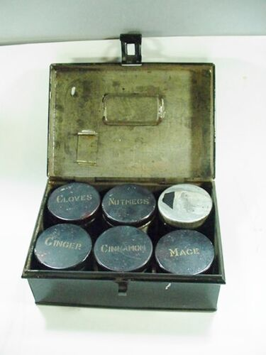 Antique Rectangular Painted Tin Spice Box with 6 Round Tin Boxes w Dome Lids.