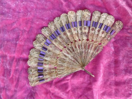 RARE CHINESE VICTORIAN SILVER FILIGREE FAN W PURPLE RIBBON