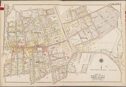 1910 WESTCHESTER COUNTY NEW YORK WHITE PLAINS STATION & COURT BROMLEY ATLAS MAP
