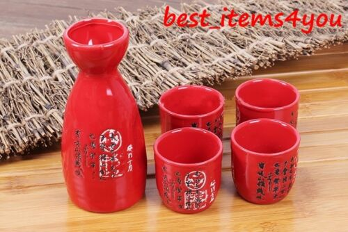 Set 5 Ceramic Japanese Sake Sturdy Made Bottle Cups Gift Liquor Wine Japan Craft