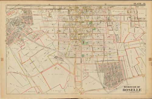 1906 ROSELLE UNION COUNTY NEW JERSEY LORRAINE STATION ST. JOSEPH'S CH. ATLAS MAP