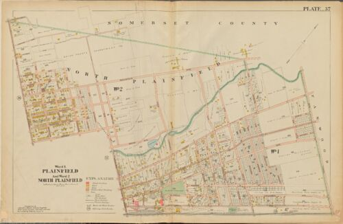 1906 PLAINFIELD NORTH PLAINFIELD UNION, NEW JERSEY LINCOLN SCHOOL COPY ATLAS MAP