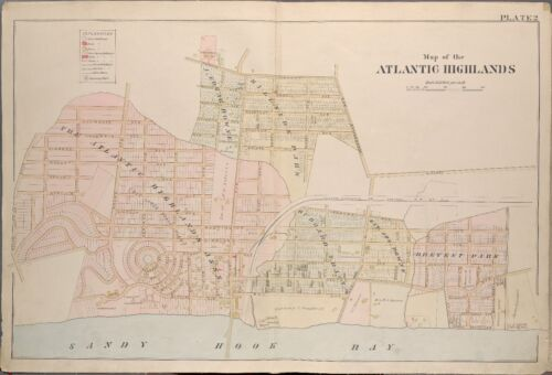 1889 ATLANTIC HIGHLANDS MONMOUTH COUNTY NEW JERSEY SANDY HOOK BAY ATLAS MAP