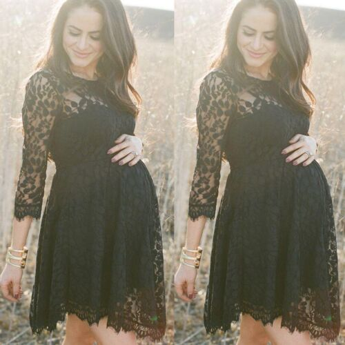 Pregnant Women Maternity Casual Lace Floral Dress Photo Photography Prop Black