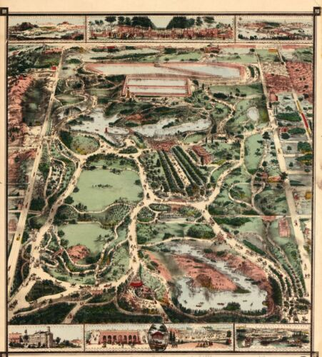1860 BIRD'S EYE VIEW OF CENTRAL PARK, MANHATTAN, NEW YORK COPY POSTER MAP
