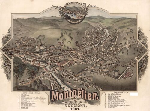 1884 BIRD'S EYE VIEW OF MONTPELIER, WASHINGTON COUNTY, VERMONT COPY POSTER MAP