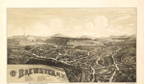 1887 BURLEIGH, BIRD'S EYE VIEW OF BREWSTER, NEW YORK COPY POSTER MAP
