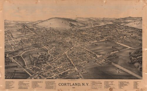 1894 BURLEIGH LITHO CO., BIRD'S EYE VIEW OF CORTLAND, NEW YORK, COPY POSTER MAP