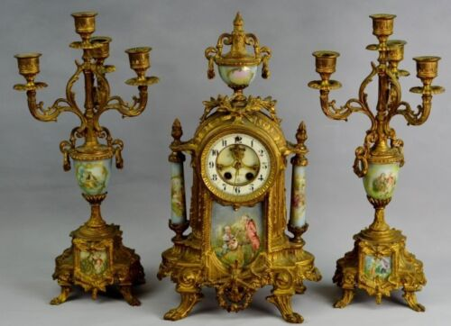 "19TH 3 pc set Gilbert ""Alexis"" Ormolu GILT AND scenic Sevres St PORCELAIN CLOCK"