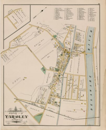1891 YARDLEY, BUCKS COUNTY, PENNSYLVANIA, OAK GROVE SCHOOL, COPY PLAT ATLAS MAP