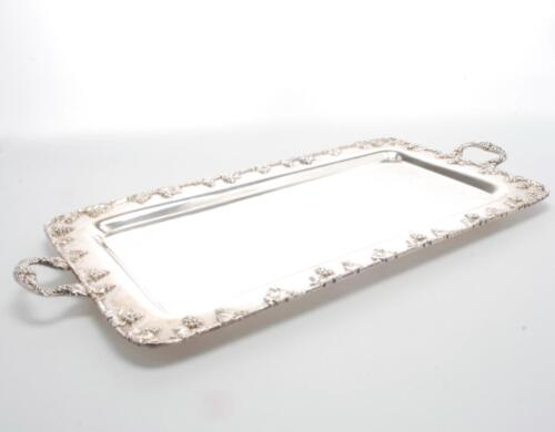 VINTAGE GRAND SILVER-PLATE ON COPPER TRAY W/ RAISED GRAPE VINE DESIGN