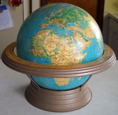 "VINTAGE GEORGE F. CRAMS 12"" WORLD GLOBE  WITH STAND 38'' CIRCUMFERENCE"