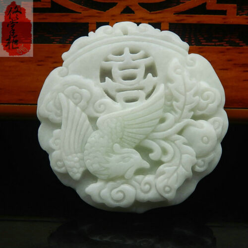 Chinese Fashion natural old white Jade Carved Amulet Pendant Phoenix
