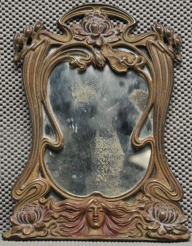 Antique Art Nuveau dresser mirror with folding base for wall hanging