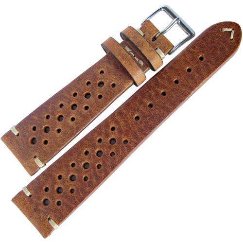 19mm Fluco Hunter Racing Rally Tobacco Brown German Leather Watch Band Strap