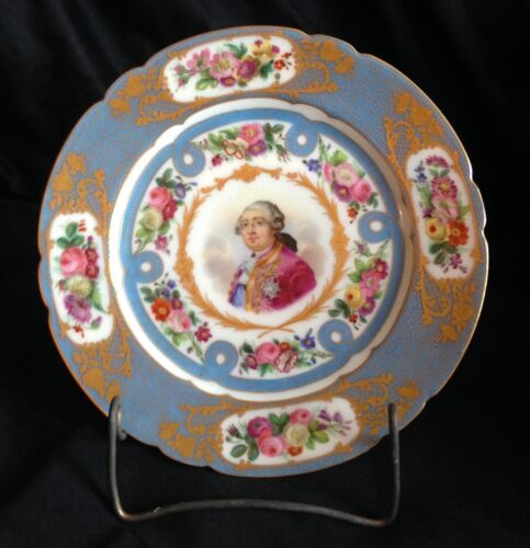 Sevres Style Decorating Plate Hand Painted Portrait French King Louis XVI